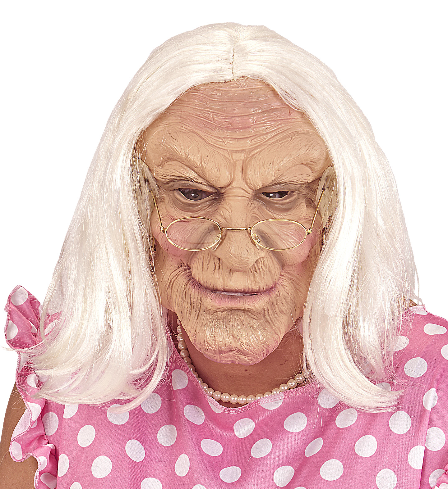 619783867638 Latexová karnevalová maska staré ženy s vlasy