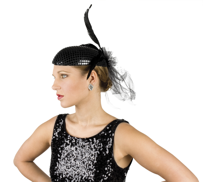 Černý dámský flitrový klobouk s peřím a stužkou 7b387b04fd