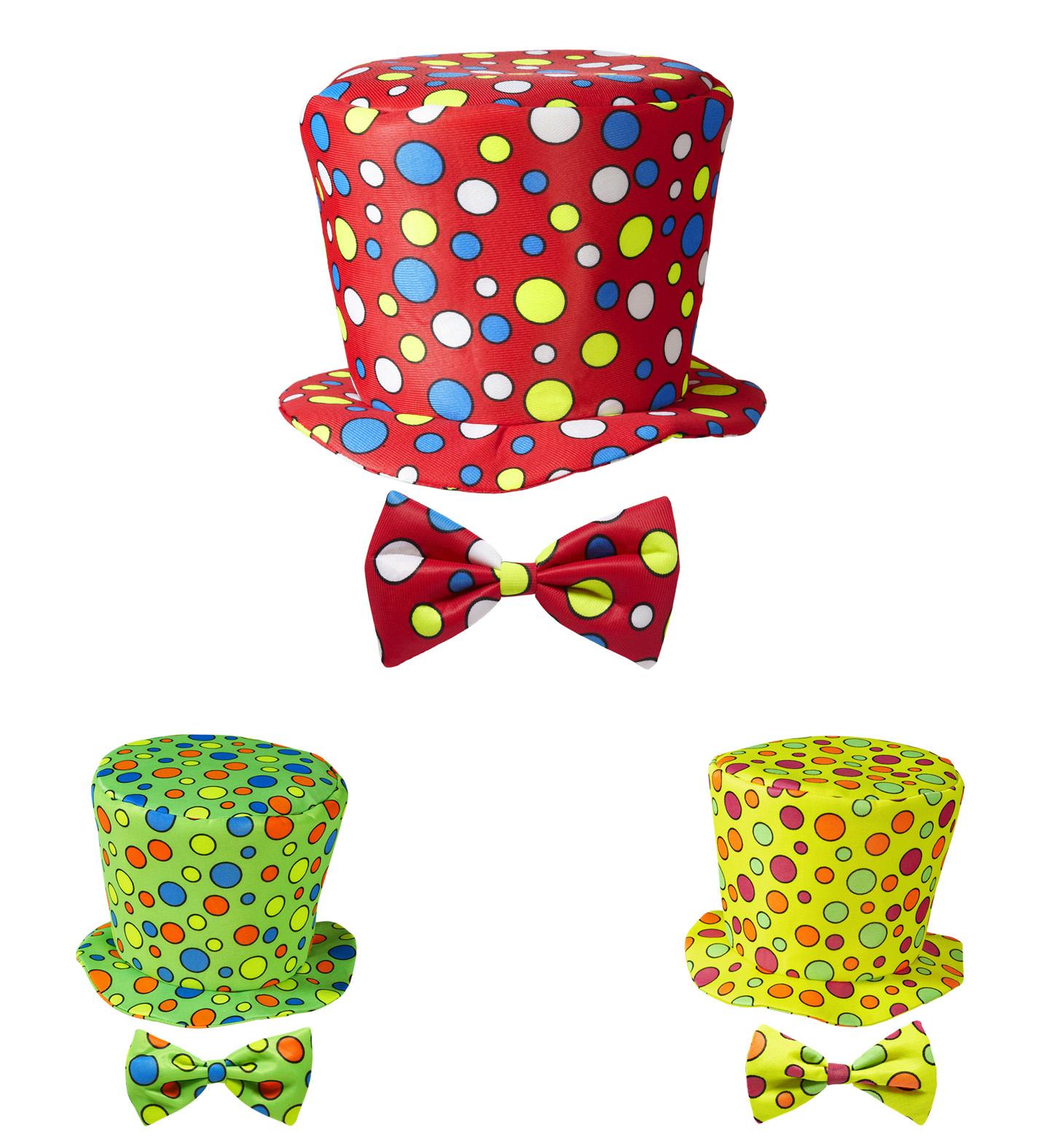 e79d51ebd8f Puntíkatý klaunský barevný klobouk a motýlek