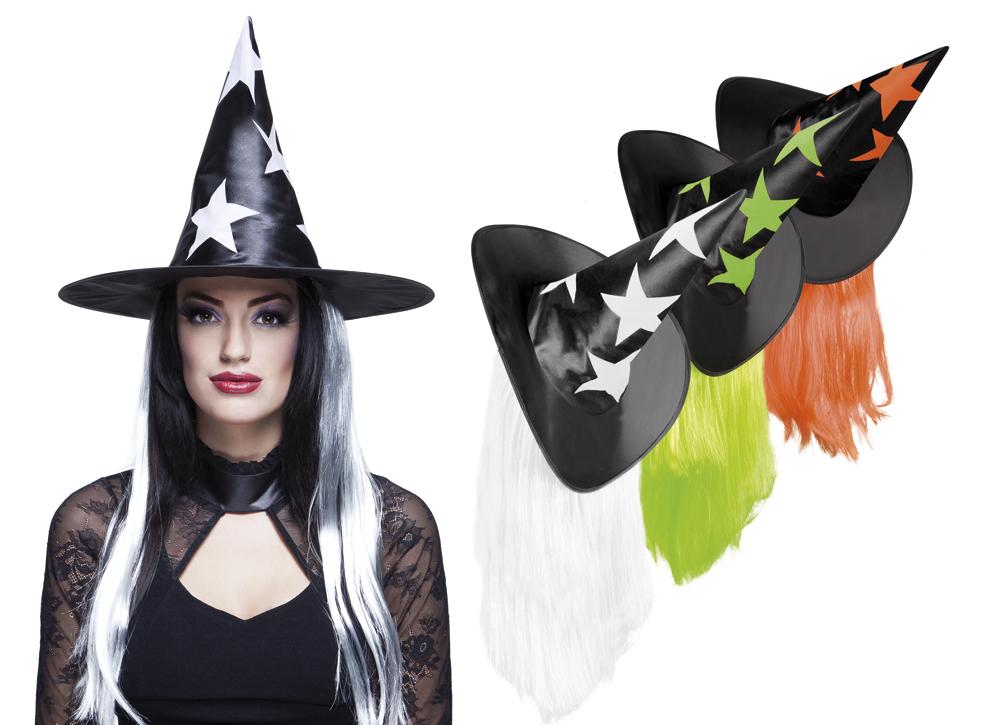 67f82db1a27 Černý čarodějnický klobouk s barevnými hvězdami a s vlasy