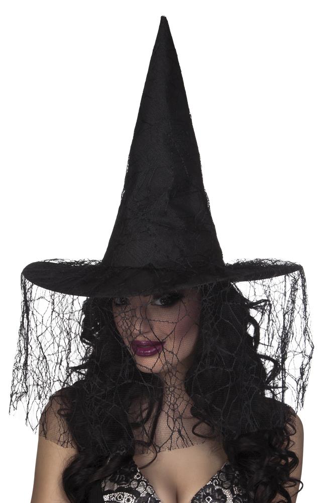983676c13a5 Černý čarodějnický klobouk se závojem a pavučinou