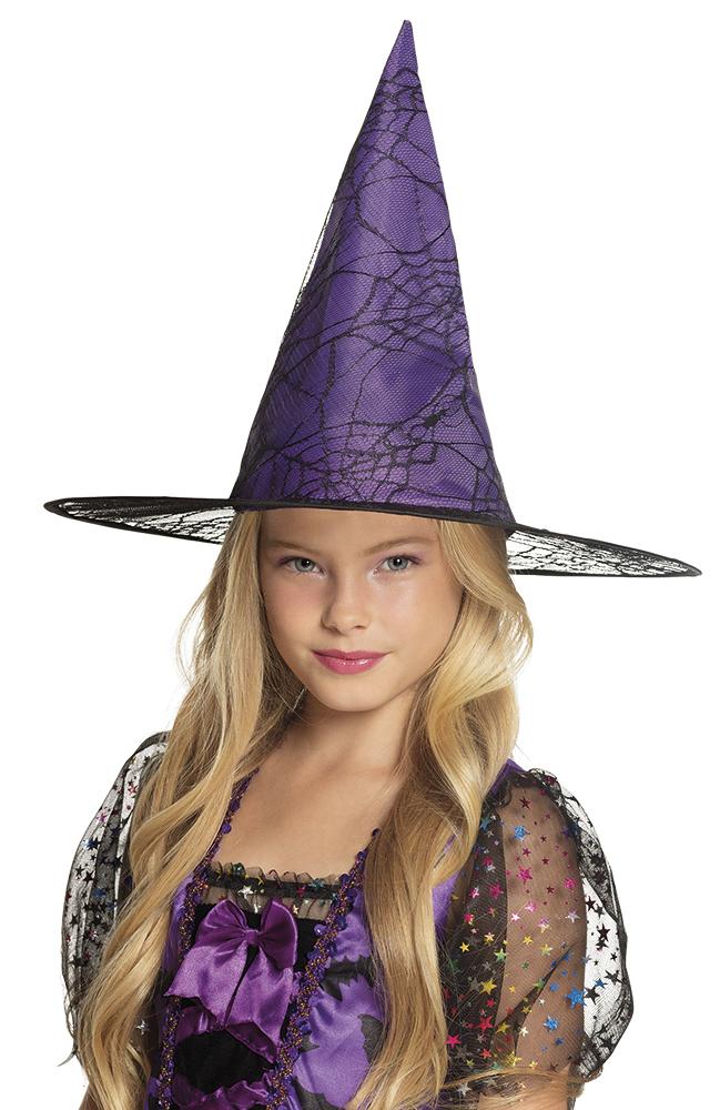 Fialový dětský čarodějnický klobouk s pavučinou de26a01f2f